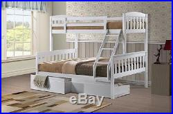 Wooden Triple Bunk Bed And Drawers White Or Pine 3ft & Double -2 FREE PILLOWS