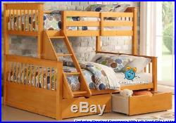 Wooden Triple Bunk Bed In Oak With Drawers 3ft & Double Beds 2 Free Pillows